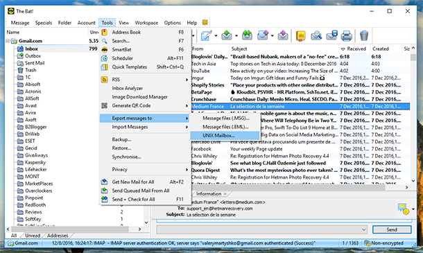 Recovery and Backup for The Bat Mail Client