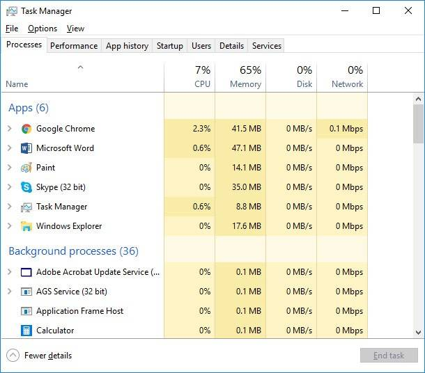 Task Manager / Processes