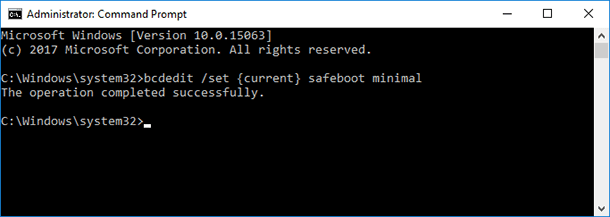 "Type in the command prompt: ""bcdedit /set {current} safeboot minimal"" and press Enter."