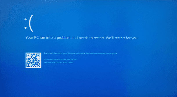 error INACCESSABLE_BOOT_DEVICE