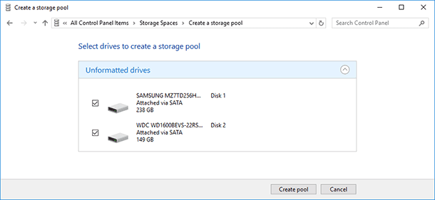 How to Create a Storage Space or Mirrored Volume in Windows 7, 8 or 10