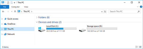 The storage space you have created will be shown as another drive in the folder This PC