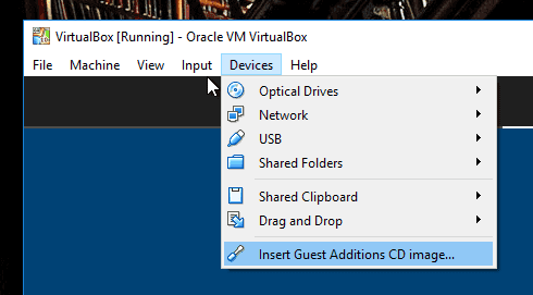 VirtualBox. Insert Guest Additions CD image...