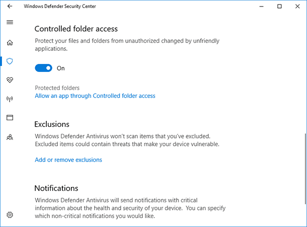 Windows Defender. Controlled folder access