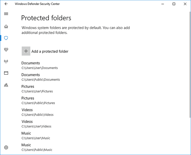 Windows Defender. Protected Folders