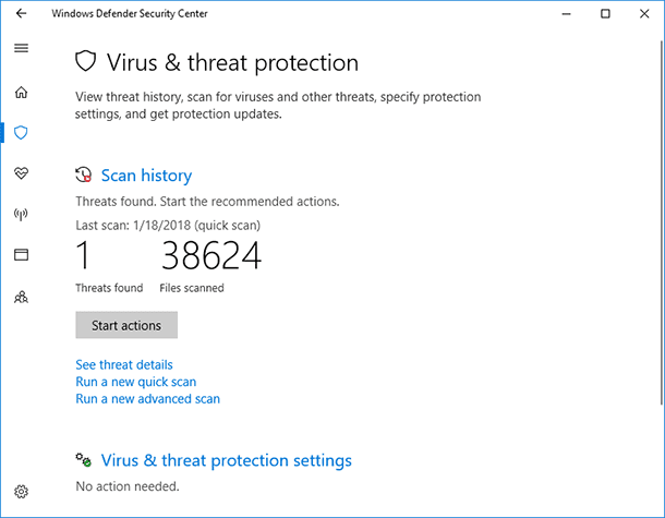 Windows Defender. Virus & threat protection
