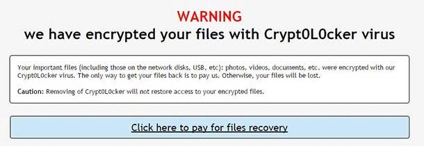 Warning! We have encrypted your files with Crypt0L0cker virus