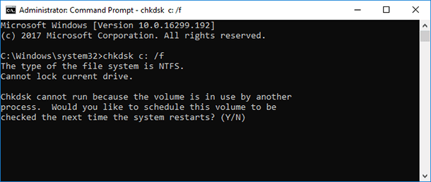 Command prompt. Type in chkdsk and press Enter.