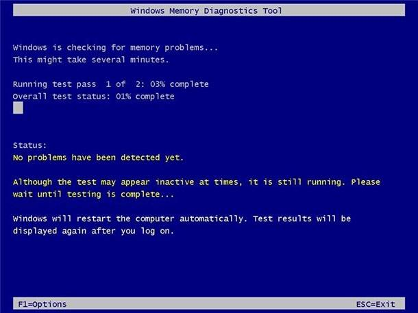 Windows Memory Diagnostics. Standard test