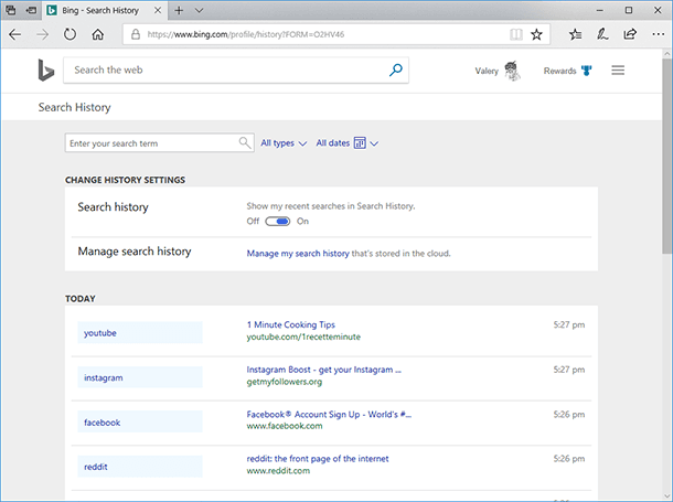 Bing. Bing search history is presented chronologically.