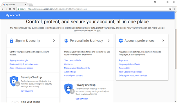 "Google. ""Personal info and privacy"" / ""Manage your Google activity"""