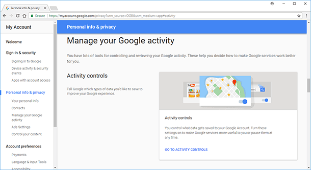 Google. Activity Controls
