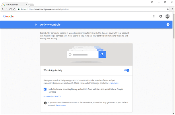 Google. To disable saving app history and web search history, switch them off