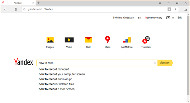 Yandex remembers user's frequent searches and the websites which are visited often