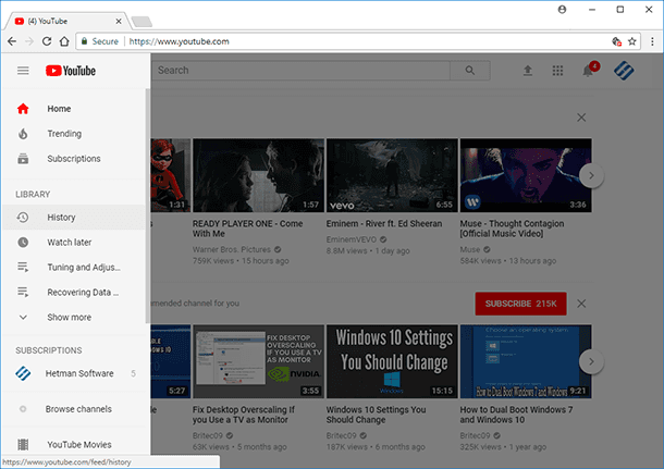 YouTube. You can also view or clear search and watch history through YouTube interface.