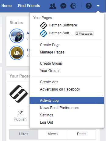 Facebook User Activity: Activities and Geodata, Search and