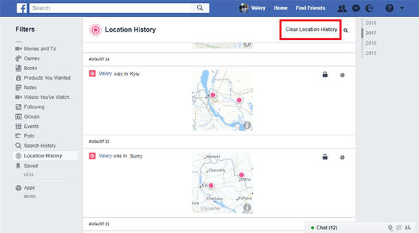 Facebook User Activity: Activities and Geodata, Search and Messaging