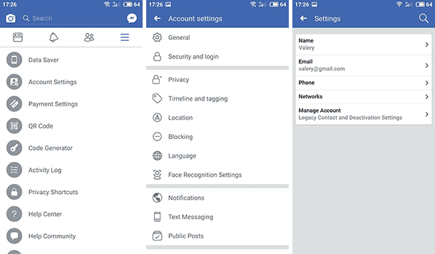 Account settings / Settings / Manage account