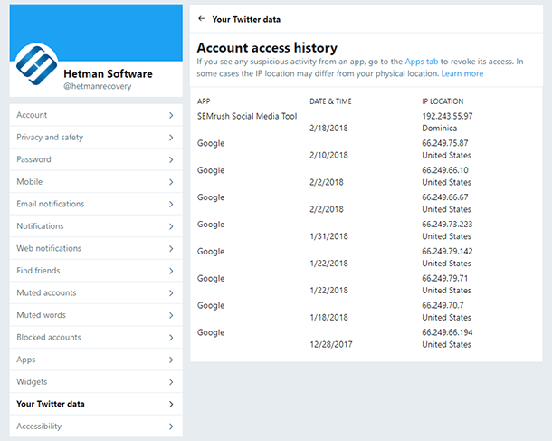 Account access history. Application from which the user logged in, the date, country and IP address.