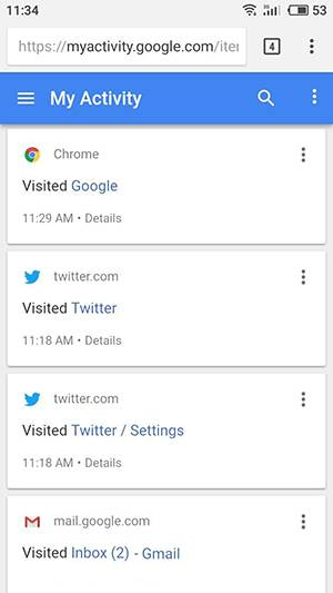 Google Chrome. My Activity