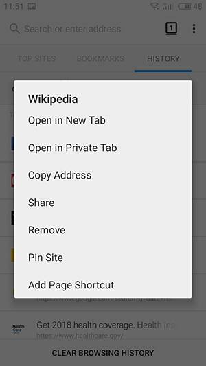 Mozilla Firefox. You can also tap and hold a History item to delete only this specific one