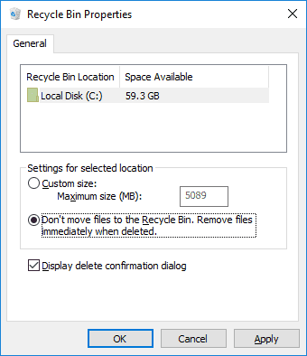 Moving files to Recicle Bin setup
