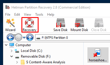 Hetman Partition Recovery. Having selected all the necessary files, click the Recovery button