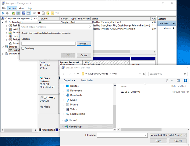 Attach Virtual Hard Disk