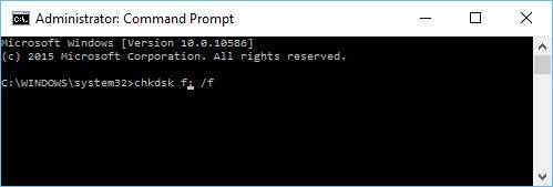 Enter a command: chkdsk f: /f