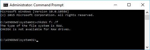 The type of the file system is RAW. CHKDSK is not available for RAW drives