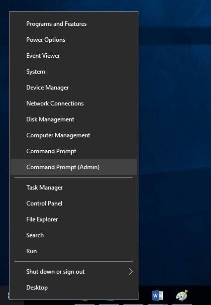 Command Prompt (Admin) Menu