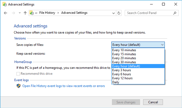 Advanced settings of File History