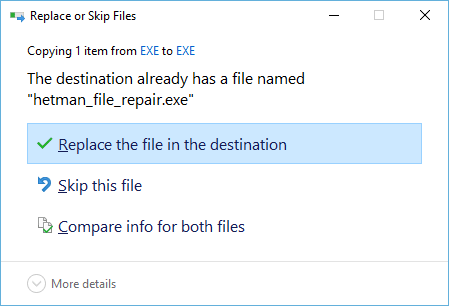 Replace or Skip Files