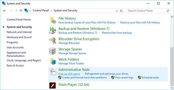 in Administration panel, select function Free Up Disk Space