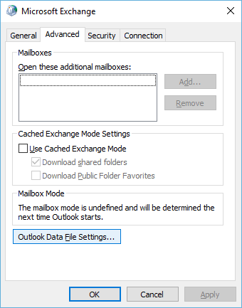 OutLook Exchange Settings