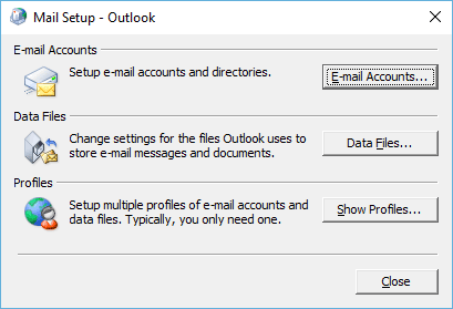 E-mail accounts in Outlook 2010