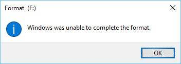 Error: Windows was unable to complete the format