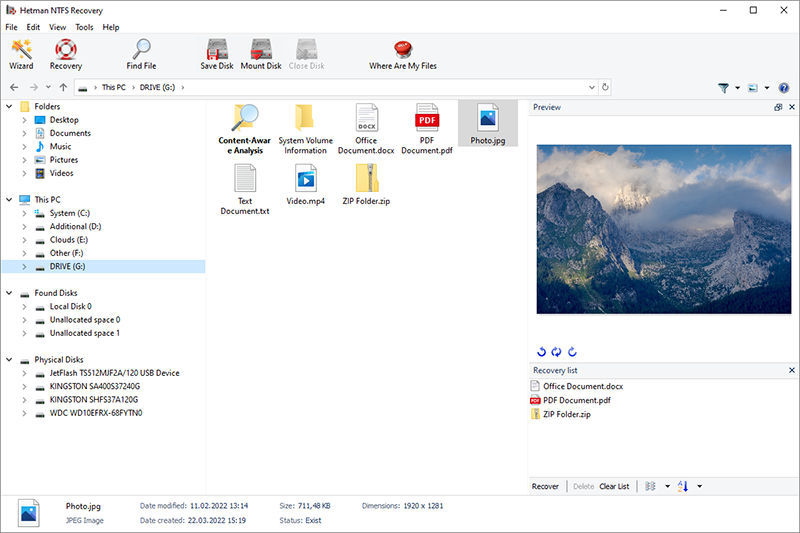 Click to view Hetman NTFS Recovery screenshots