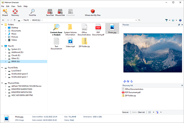 Click to view Hetman Uneraser 4.1 screenshot