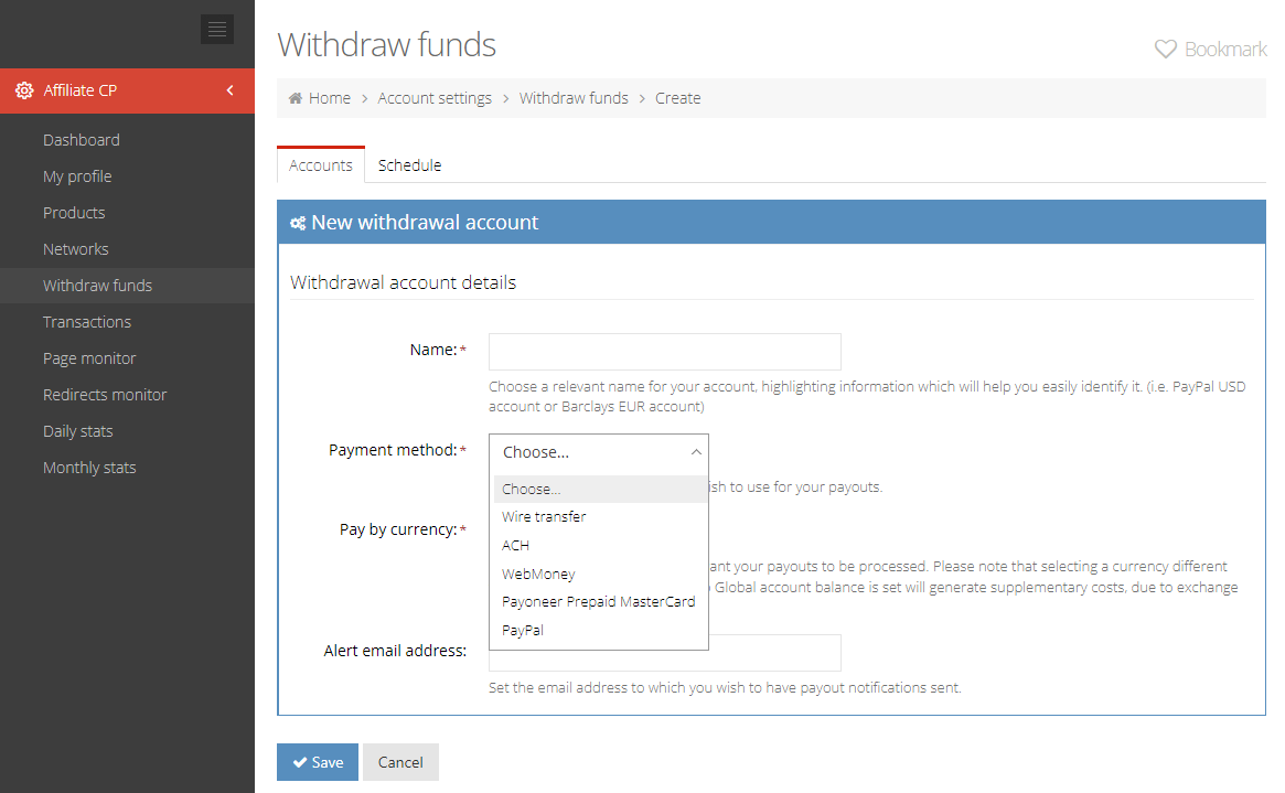 Methods of withdrawing funds