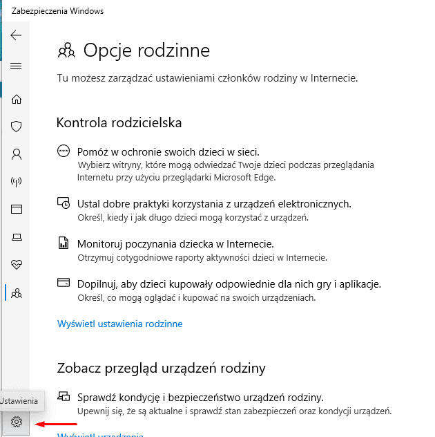Windows Security Center: Options