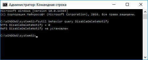 Командная строка: fsutil behavior set disabledeletenotify 0