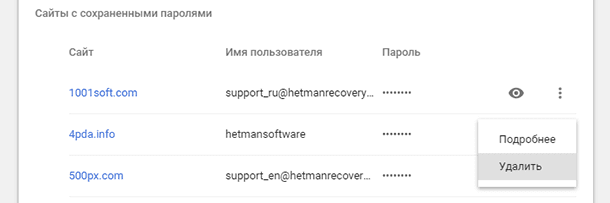 Google Chrome: Удаление пароля