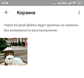 Google Photos. Корзина