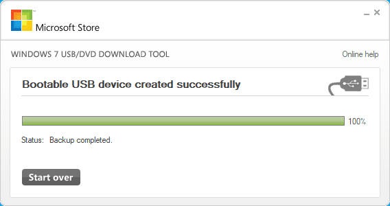 Windows 7 USB/DVD Download Tool. Backup completed