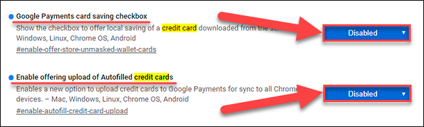 Google Chrome / Enable offering upload of Autofilled credit cards