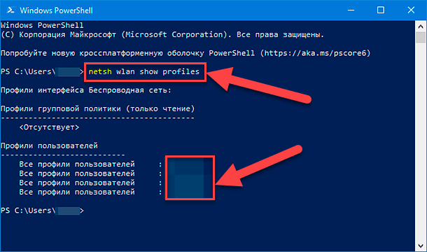 Windows PowerShell. «netsh wlan show profiles»