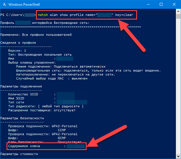 "Windows PowerShell. «netsh wlan show profile name=""NETWORK"" key=clear»"