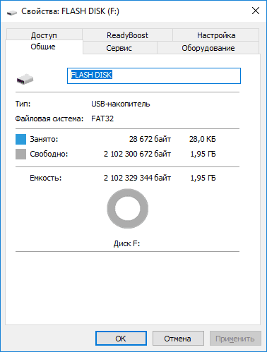 Свойства: Flash Disk (F:)
