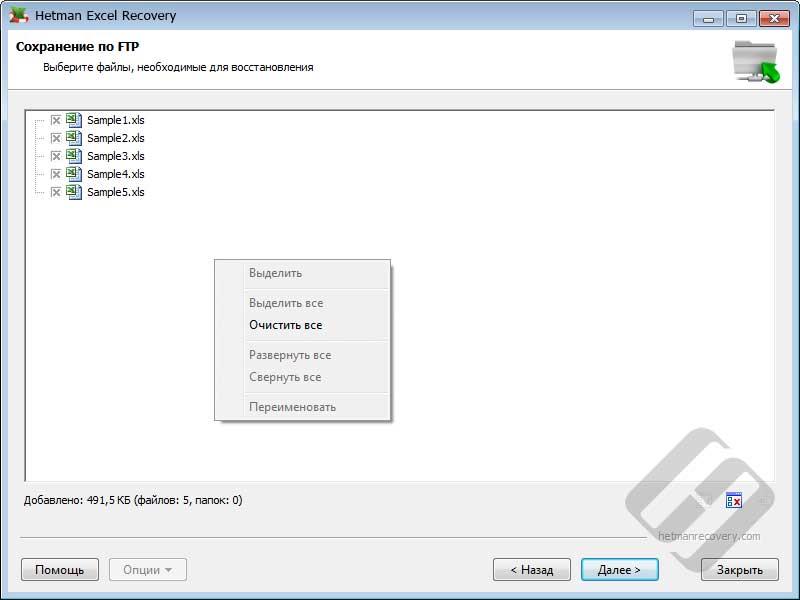 Hetman Excel Recovery – выбор файлов для сохранения по FTP